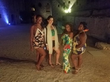 Some of the ladies and Hostess Bae in our Tropical Retro wear